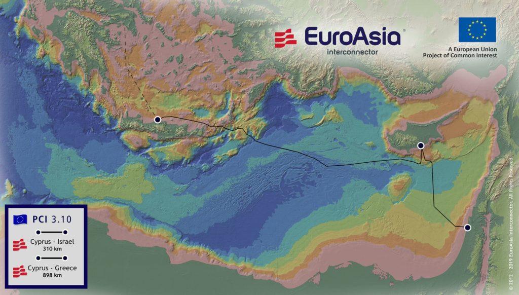Una mappa dell'EuroAsia Interconnector (Immagine: EuroAsia Interconnector).  EastMed Gas Forum  EastMed Gas Forum