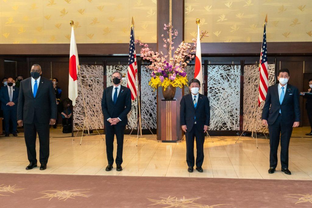 Il segretario di Stato degli USA, Antony Blinken, e il segretario della Difesa, Lloyd Austin, incontrano le loro controparti giapponesi, Toshimitsu Motegi e Nobuo Kishi (Fonte: account Twitter di Blinken).