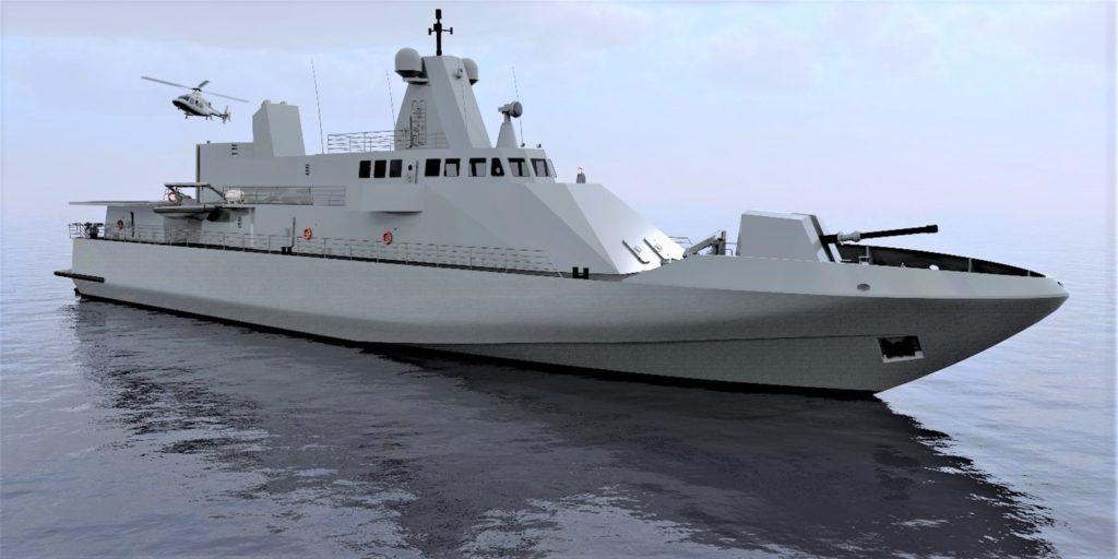 Rendering del progetto Ultra Fast Offshore Vessel, un pattugliatore di 630 t. per 60 m. di lunghezza fuori tutto, di elevatissima velocità (oltre 70 nodi), largamente superiore a qualsiasi altra unità similare.  Ammiraglio Bettini  Ammiraglio Bettini  Ammiraglio Bettini