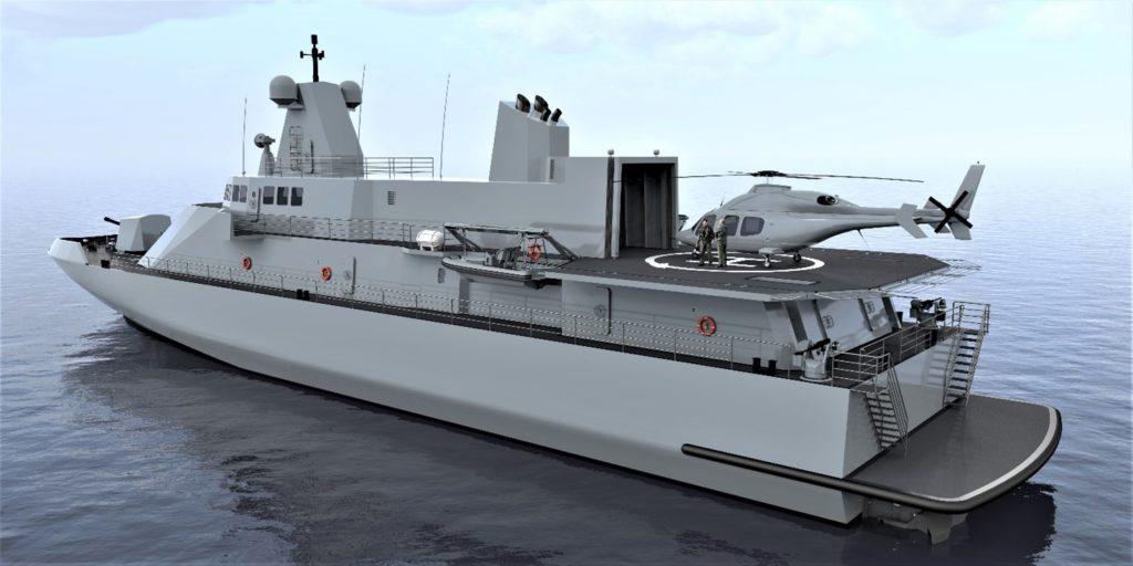 Un'altra immagine computerizzata, questa di poppa, del progetto Ultra Fast Offshore Vessel.  Ammiraglio Bettini  Ammiraglio Bettini  Ammiraglio Bettini