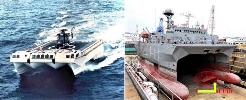 Immagine di una nave SWATH a catamarano utilizzata come stabile piattaforma elicotteristica (a sinistra) e di uno scafo in bacino con un'ala di controllo dell'assetto visibile su uno degli scafi immersi, indicata dalla freccia.   Ammiraglio Bettini  Ammiraglio Bettini