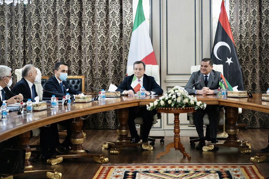 La delegazione italiana a colloquio con il Primo Ministro Dbeibah. (Fonte: Palazzo Chigi)