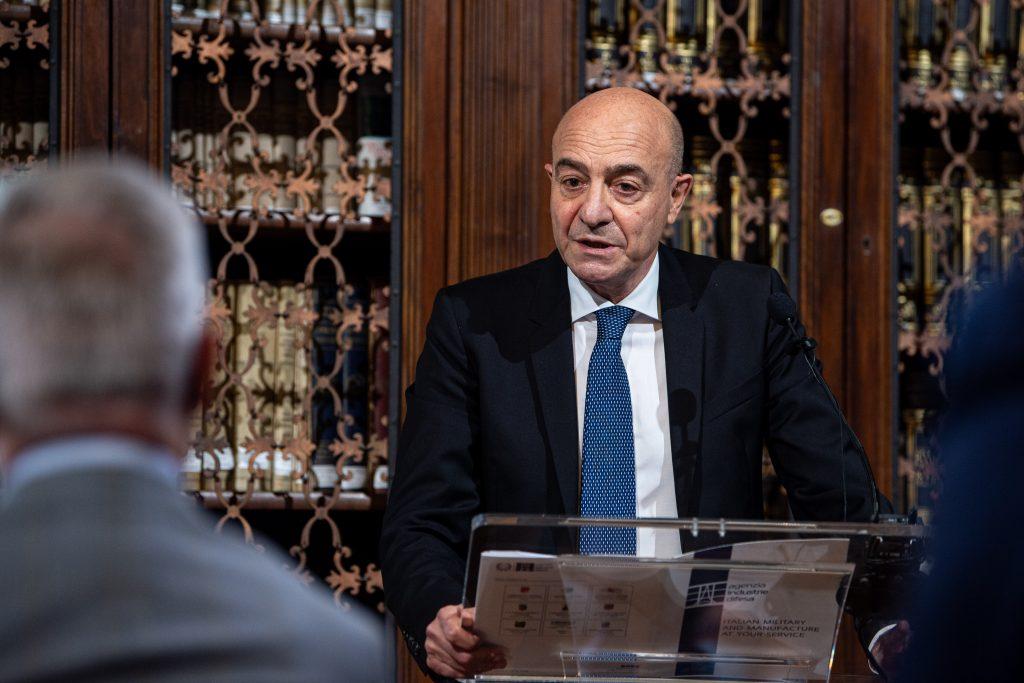 Il Direttore Generale, Dott. Nicola Latorre, alla presentazione della nuova governance e strategie di sviluppo industriale 2021-2023.  Agenzia Industrie Difesa
