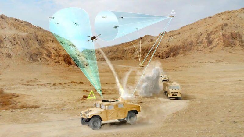 Nella ricostruzione grafica, un veicolo appartenente a un convoglio militare lancia un intercettore di droni del tipo sviluppato nell'ambito del programma Mobile Force Protection (MFP) della DARPA. (Fonte: DARPA)  nuovo sistema
