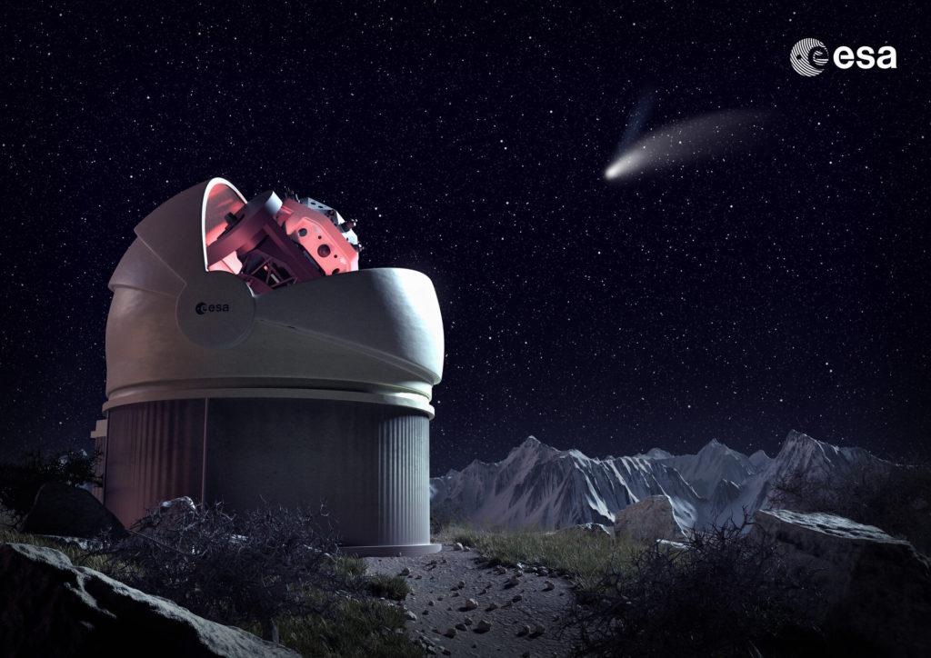 Il futuro telescopio Flyeye dell'ESA. (Fonte: ESA)