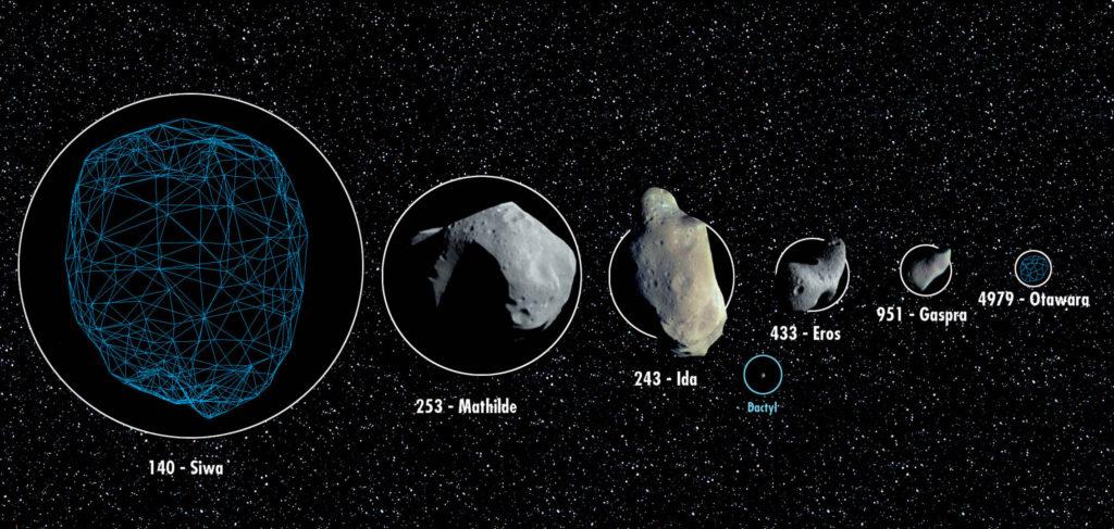 Collage grafico che mostra le dimensioni relative di possibili asteroidi bersaglio e altri asteroidi conosciuti. (Fonte: ESA)